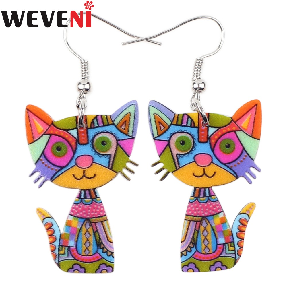 WEVENI Lightweight Acrylic Print Drop Dangle Big Long Cat Kitten Earrings For Women New Fashion Girl Accessories Jewelry