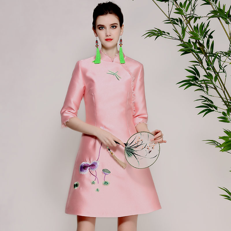 High-end spring summer women Chinese style yellow/pink floral embroidery dress elegant slim lady A-line party dress S-XXL цены онлайн