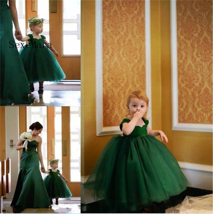 Lovely Emerald Green Little Girls Pageant Dress Cap Sleeves Tea Length Layered Ball Gown Flower Girls Dresses Communion Gown ball gown short sleeves knee length summer flower girl dresses girls party pageant communion dress