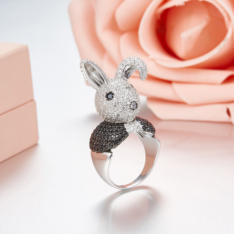 2018 Brand New Design rabbit ring 925 sterling silver AAA mirco zircons Funny cute love 3D animal bunny Mr Rabbit ring Women невидимка для волос funny bunny розовые цветы 2 шт