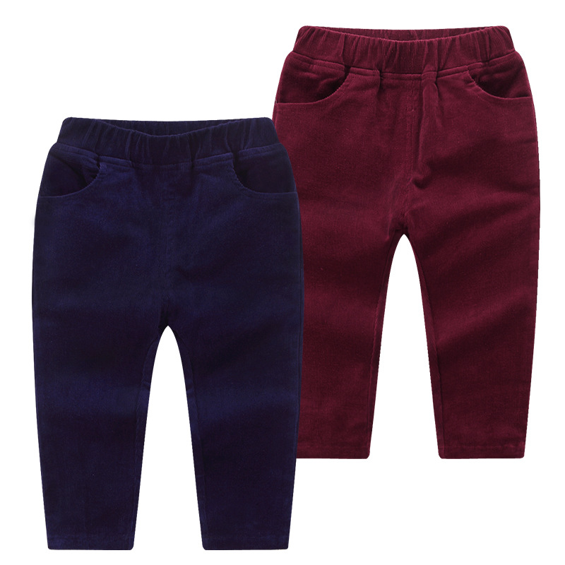 Children's trousers 2018 autumn new casual children's pants solid color corduroy pants cotton baby pants casual slimming lace up large pocket solid color cotton blend pants for men