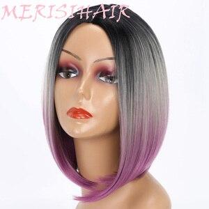 Image 4 - Merisi cabelo curto peruca reta bob penteado cabelo sintético marrom amarelo ombre cinza roxo perucas para mulher 12 polegada afastamento
