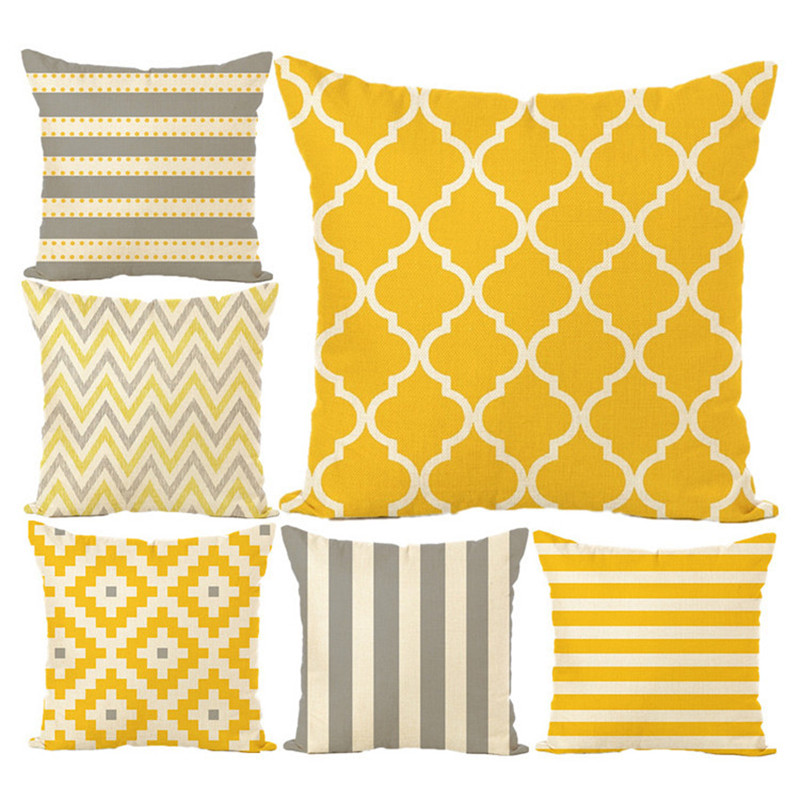 Modern Sofa Cushion Yellow Grey Cotton Linen Decorative Throw Pillowcase Plaid Geometry Printed Bedding Home Car Bed Decor 45x45