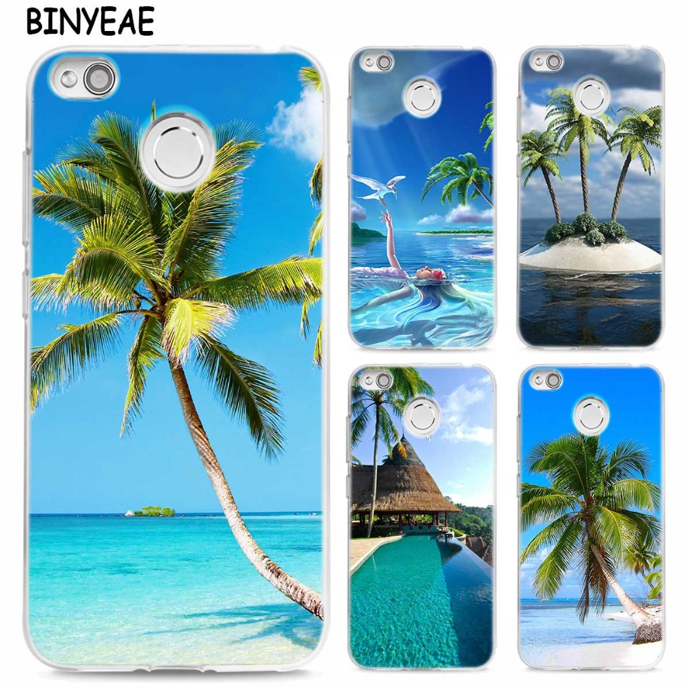 BINYEAE summer Beach Scene on sea Palm Tree TPU Transparent Soft Case Cover for Xiaomi Mi Redmi Note A1 4X 5 5A 4 4A 3 Plus Pro ...