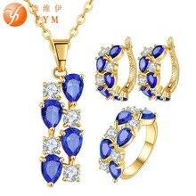 FYM Brand Bridal Jewelry Sets Blue Water Drop Crystal Zirconia Hoop Earings Rings Necklace Wedding & Engagement Jewelry Gift