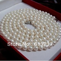 Недавно белый пресноводные искусственные круглый природных 7-8 мм перл внесении подвески ожерелье 48 дюймов MY4575