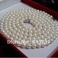 Recém branco cultivadas de água doce redonda natural de água doce 7-8mm pérola fazendo encantos colar 48 polegada MY4575