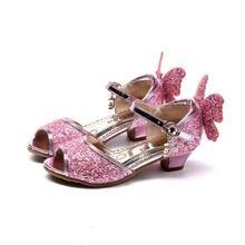 Сандалии для девочек; Новая модная летняя обувь принцессы для девочек; обувь с блестящим бантом и кристаллами; Высококачественная детская обувь на высоком каблуке; Размеры 26-37