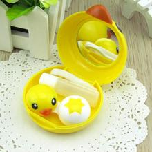 Lovely Yellow Baby Duck Contact Lens Case Travel Mirror Tweezers Solution Care box