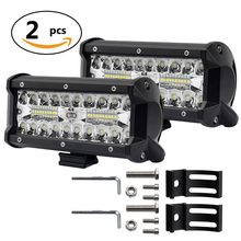 "CO LIGHT 7"" Led Light Bar 120W 3-Row Led Bar Spot Flood Beam Auto Work Light 12V 24V for Driving Offroad Boat Uaz Truck 4x4 ATV(China)"