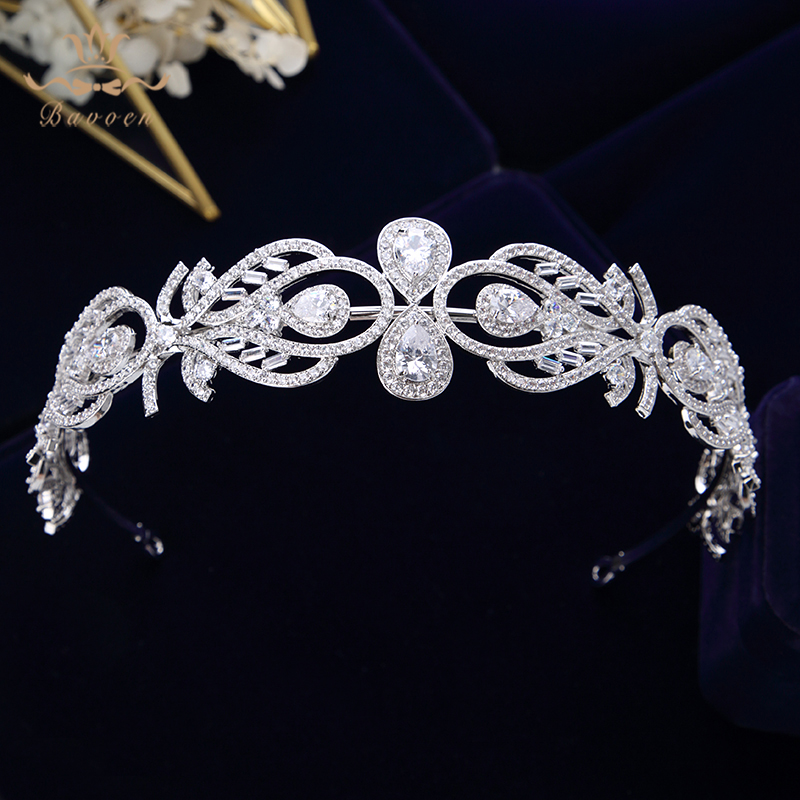 Bavoen Sparkling Zircon Wedding Tiaras Crowns European Leave Bridal Hairbands Crystal Brides Hair Accessories Prom Hair