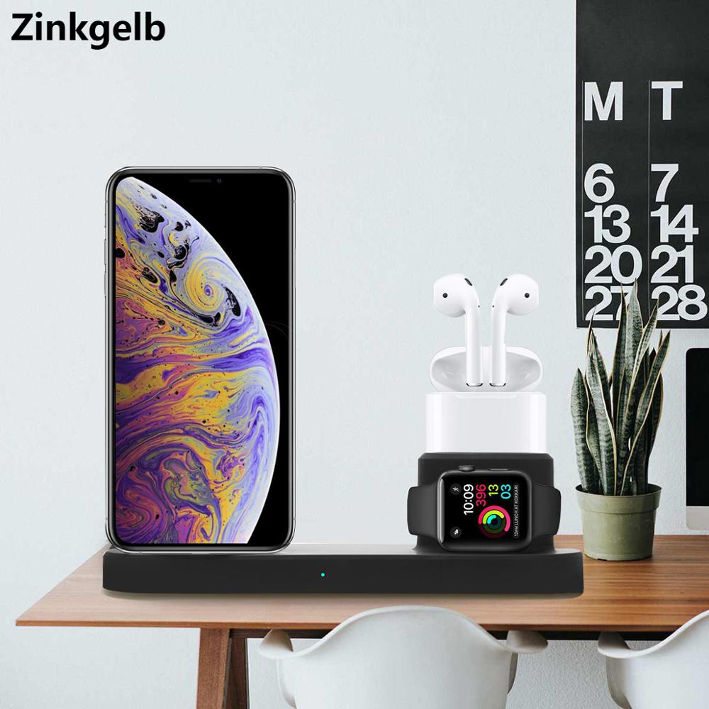 Station de charge sans fil 4 en 1 pour iPhone XS Max XR X 8 Plus Qi chargeur rapide sans fil Dock support pour Apple Watch AirPods 2