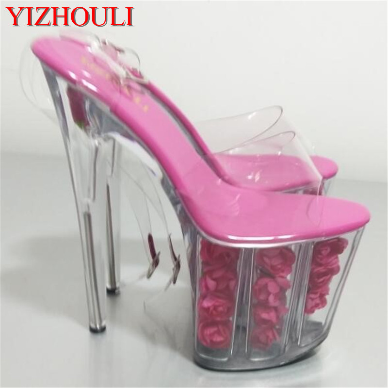 2018 summer hot multicolor flower waterproof 20cm nightclub stage woman sexy high-heeled shoes with sandals summer europe 17cm high with fine with high waterproof hollow sexy nightclub thick crust fish head sandals stage shoes