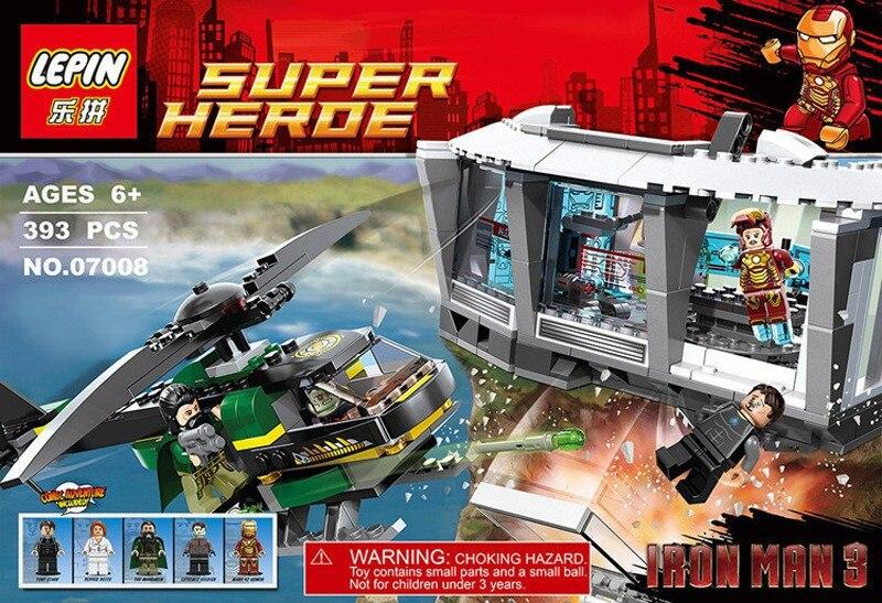 07008 364Pcs Super Hero Iron Man Malibu Mansion Attack Model Building Kits Minifigures Blocks Bricks Toys Compatible with lego