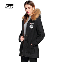 Fitaylor Winter Jacket Women Plus Size Hooded Faux Collar Parkas Mujer Invierno 2017 Casual Girl Cotton