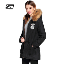 Fitaylor Winter Jacket Women Plus Size Hooded Faux Collar Parkas Mujer Invierno 2017 Casual Girl Cotton Coat Print Long Outwear