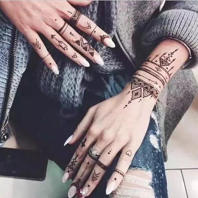2Pcs/Set Temporary Tattoo stencil 25 designs Body Art Men Women Indian Henna pattern Beauty Waterproof Fake Arm Hand Reuse tatoo 4