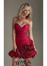 Schöne Red Taft Short Floral Rock Cocktailkleid 2017 Mantel Schatz Prom Party Kleider mit Pailletten Perlen