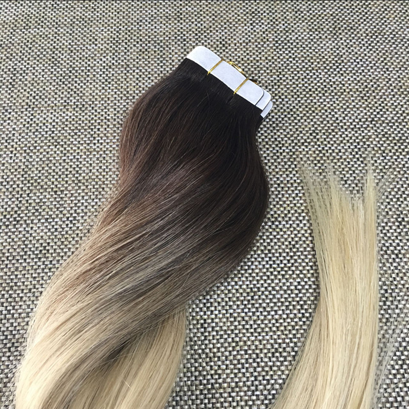 Haarverlängerung Und Perücken Voller Glanz Band In Menschliches Haar Extensions Reine Farbe # 1b Off Schwarz 100 Gramm 40 Pcs Pro Pack 100% Remy Haar Extensions Klebeband Auf Haar Haarverlängerungen