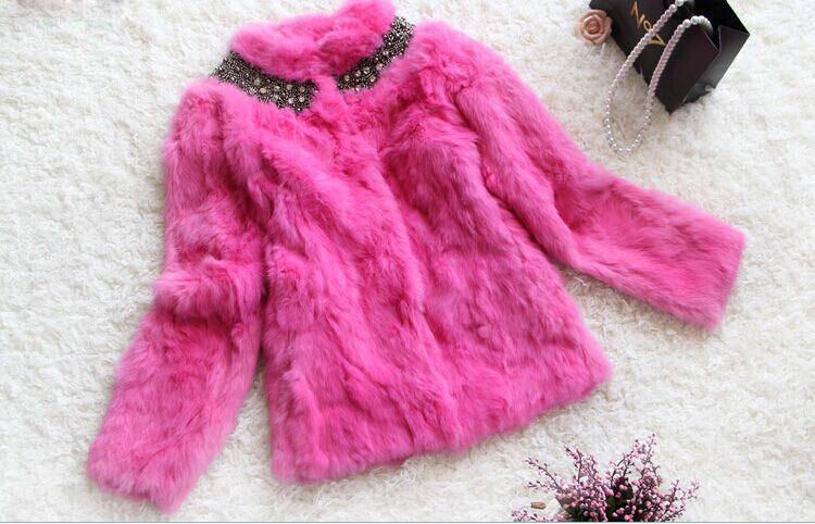 Free Shipping New 7colors Women Genuine Rabbit Fur Jacket Coat Thick Warm Winter Clothing Beading Collar Coat F120A