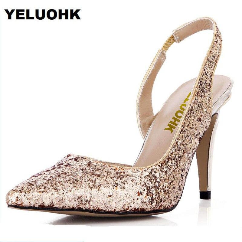 Boda brillo Zapatos mujeres alto del alto mujeres talón sexy punta estrecha 35d55d