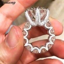 Choucong vintage flor promessa anel de dedo 925 prata esterlina aaaaa cz noivado anéis de banda de casamento para festa de jóias femininas