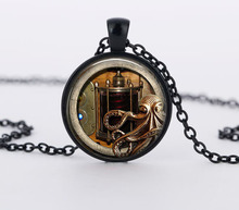 Vintage  animals picture  dome glass  necklaces, octopus pendant & necklaces steampunk jewelry CN782