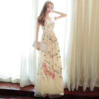 2017 Newest Runway Fashion Women Maxi Dress Vestidos Elegant Long Sleeve Tulle Gauze Flower Embroidery Vintage