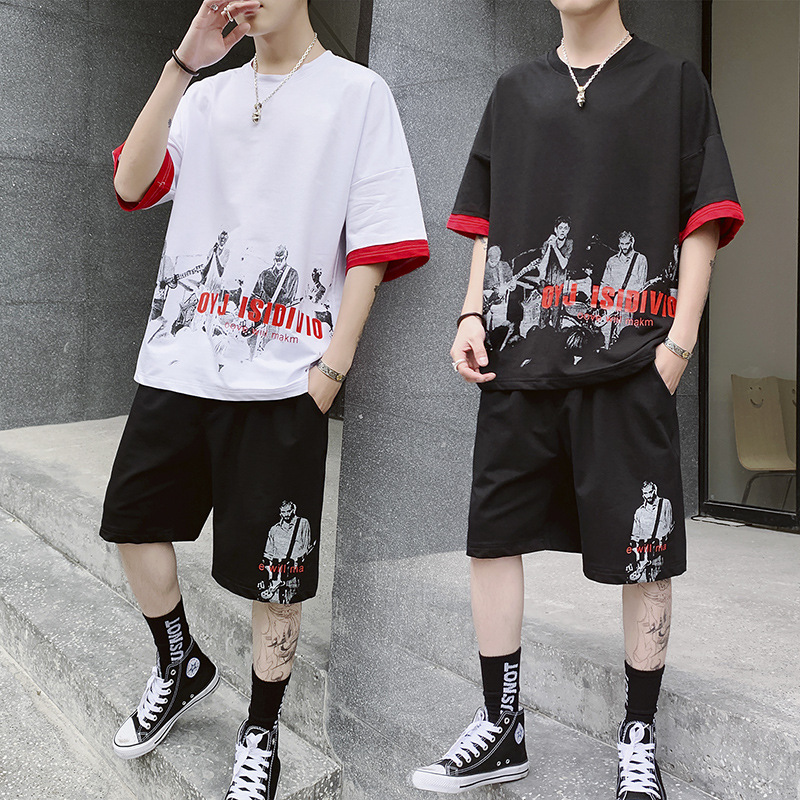 AmberHeard 2019 New Summer Men Sporting Fitness Suit Short Sleeve T-shirt+Shorts Hip Hop 2 Piece Set Tracksuit For Men Clothing