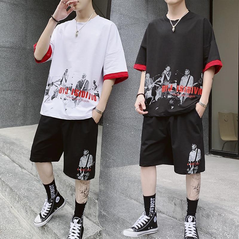 AmberHeard 2019 New Summer Men Sporting Fitness Suit Short Sleeve T-shirt+Shorts Hip Hop 2 Piece Set Tracksuit For Men Clothing