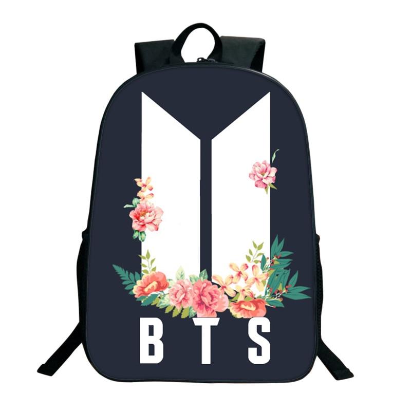 все цены на Kpop BTS Bangtan Boys Backpacks 3D Printed School Bags For Women Teenagers 16 Inch Shoulder Bag ARMY Fans Collection SUGA JIMIN