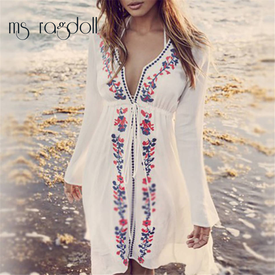 HTB1l g1RFXXXXc2XXXXq6xXFXXXq - Women's Stylish New Beach Cover Up Top - Embroidered Vintage Look