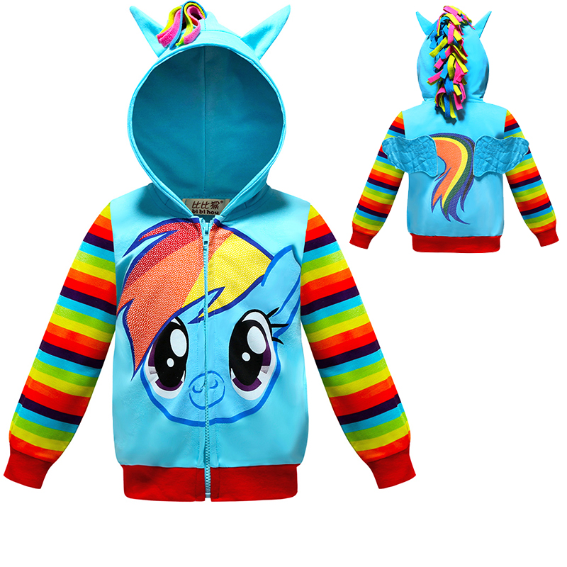 Kids Toddler Girls Long Sleeve Dress Cartoon Rainbow Stripe Party Casual Clothes