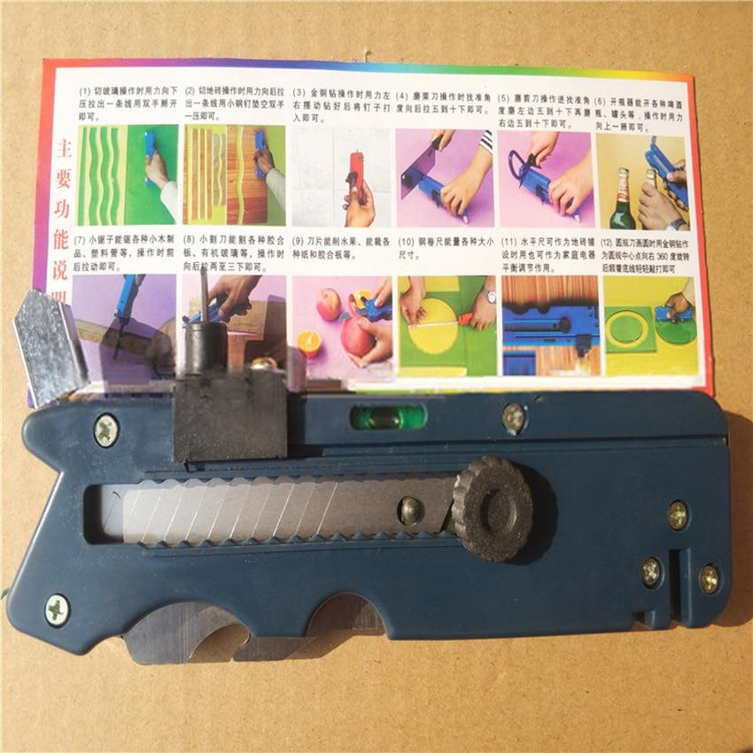 190mm Glass Diamond Cutter Tile Plastic Cutting Knife Opener Multi-functional Punching Tool Blade Sharpener DIY Mirror Repairing