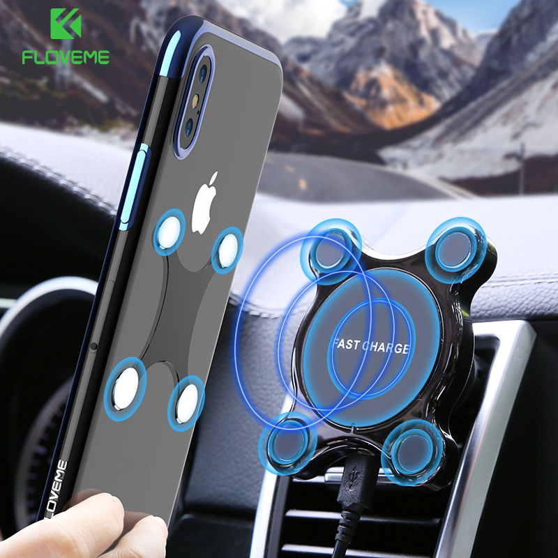 FLOVEME Car Wireless Charger For Iphone X 10 8 Plus Magnetic Phone Holder Fast Wireless Car Charging For Samsung S9 S8 Note 9 8 in Mobile Phone Chargers from Cellphones Telecommunications