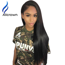 Alicrown Lace Front Human Hair Wigs For Black Women Straight Brazilian Remy Hair10-24″Pre Plucked Natural Hairline