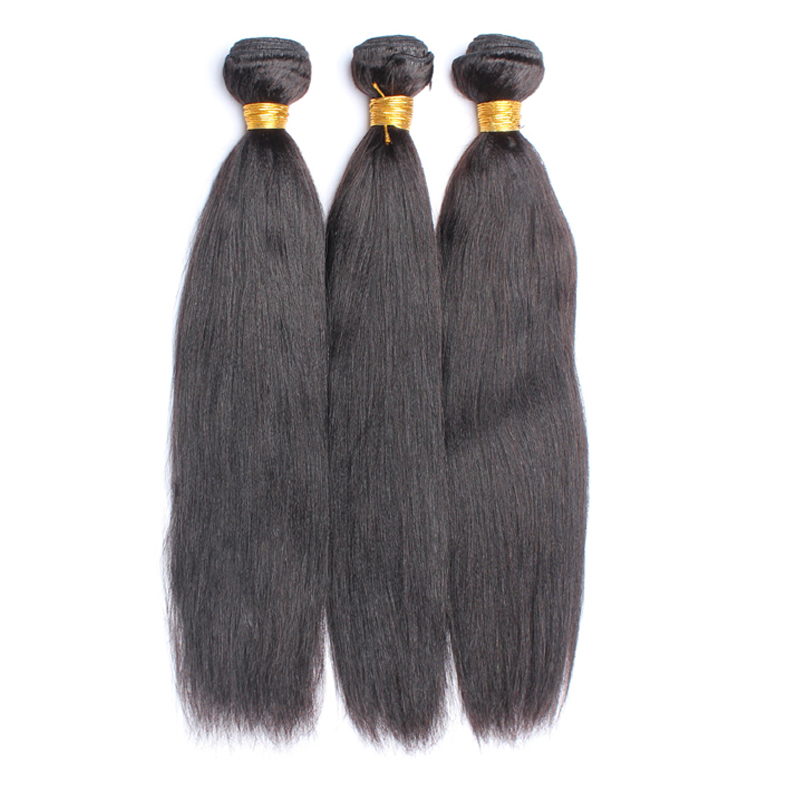 Yaki Straight Human Hair Bundles Brazilian Virgin Hair Weave Bundles 3 Pieces Yaki Human Hair Extension Honey Queen