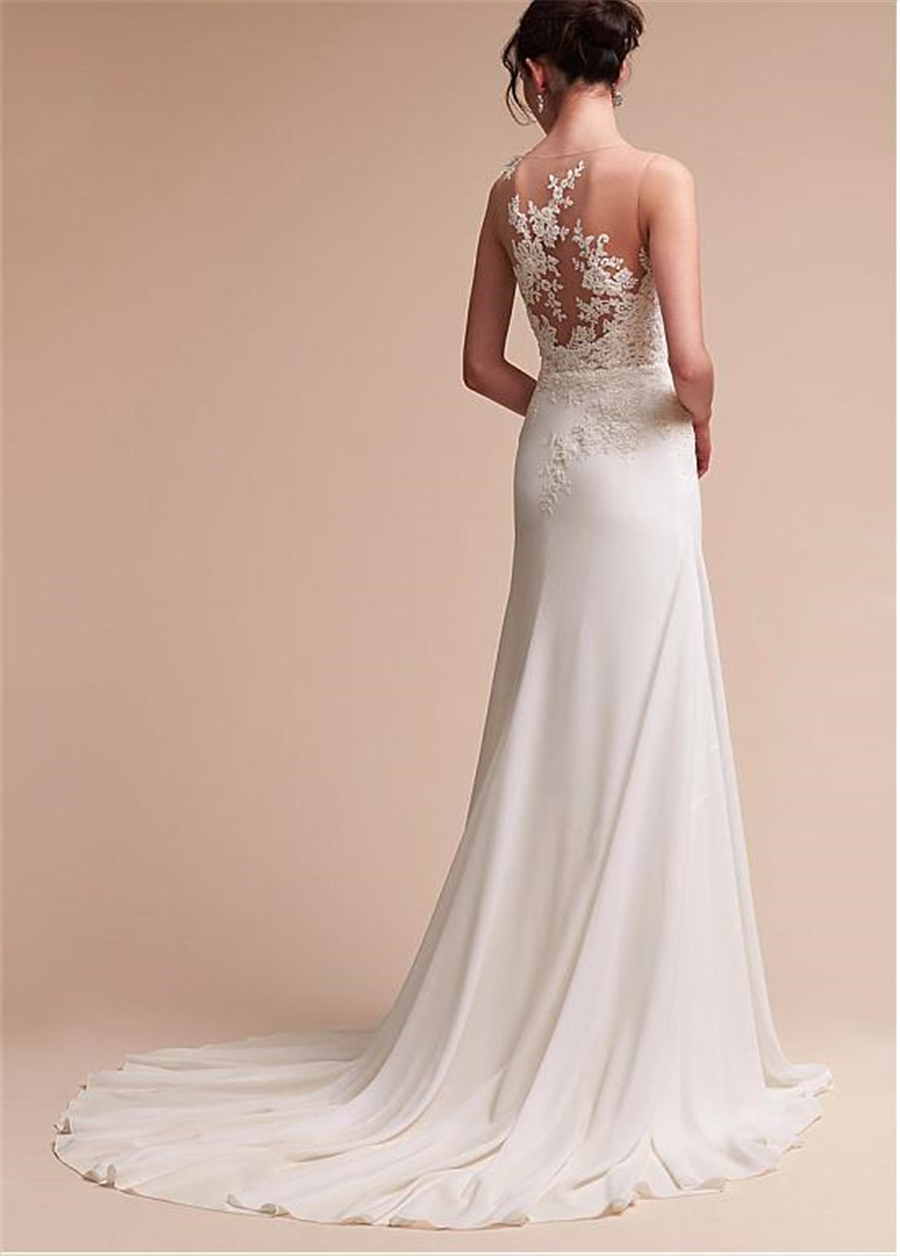Fantastic Jewel Neckline Sheath/Column Wedding Dress With Beaded Lace Appliques Beading Sash Long Bridal Dress