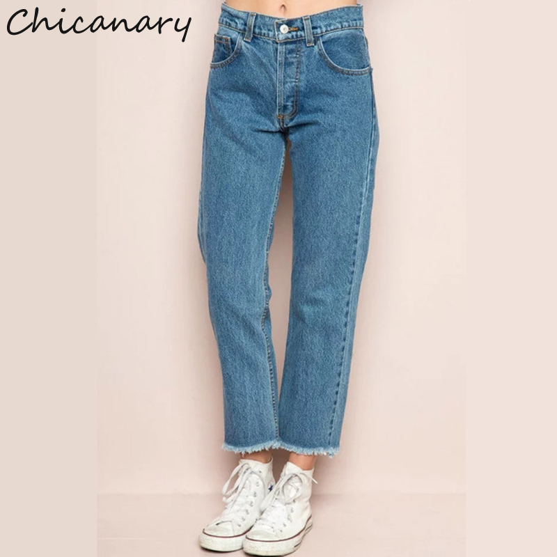 Chicanary Raw Cut Women High Waist Nine Point Jeans Denim Harem Pants Trousers