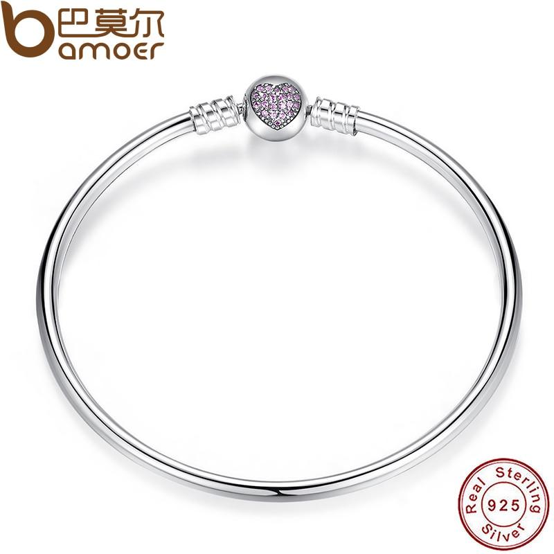 font b BAMOER b font Authentic 100 925 Sterling Silver Snake Chain Heart Bangle Bracelet