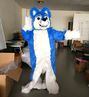 ohlees In stock blue husky fursuit Mascot Costume Luxury Fox Dog plush Adult Size Halloween party Costumes High Quality