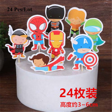 superhero party cake topper the avengers decoration supplies flags spiderman superman batman cupcake toppers