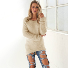 2017 Women Cashmere Sweaters Pullovers Autumn Winter Fashion Loose O Neck Solid Color Long sleeve Plus Size S-XL Knitted Sweater