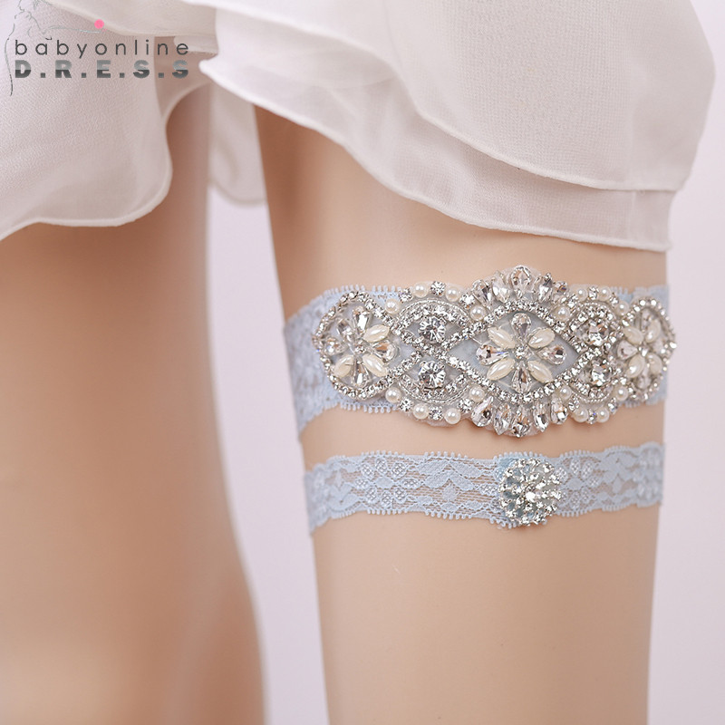 Weddings & Events Wedding Accessories Fast Deliver Wedding Gloves 2018 Hot-selling Vintage Lace Bridal Leg Garter With Blue Rhinestones Ivory Appliques Wedding Accessories Fi034