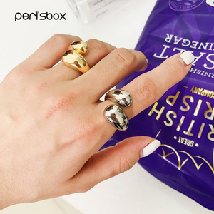 Peri'sBox Gold Statement Dome Ring for Women Big Large Open Finger Ring Chunky Dome Wide Ring Jewelry New Hot(China)