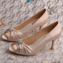 Wedopusใหม่มาถึงคนดังเปลือยรองเท้าแต่งงานเจ้าสาวPeepเท้ารองเท้าส้นสูงปั๊ม