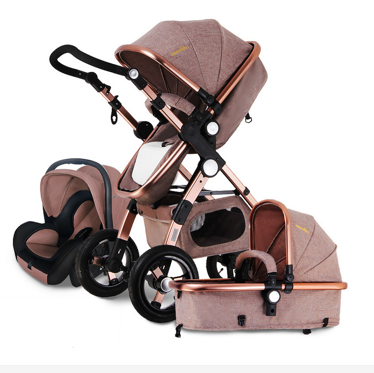 Free Ship! baby Stroller 3 in 1 baby carriage High landscape Ultra light Convenience to travel 2 in 1 baby stroller gold baby
