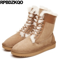 Fur Lined Winter High Quality Booties Snow Ankle Sheepskin Real Boots Men Suede Shoes Top Brown Comfortable Male Fashion 2017