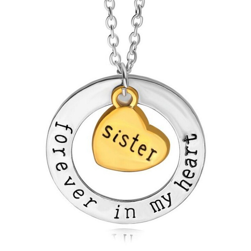 Charm Sister Sis Forever In My Heart Gold Heart Pendant Necklace Family For Women Girls Jewelry Friends BFF Collier Gifts Party