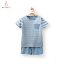 COBROO Baby Boy/Girl Cotton Set for Summer Striped Short-Sleeve T-Shirt with Solid Color Shorts 6-9-12 Months